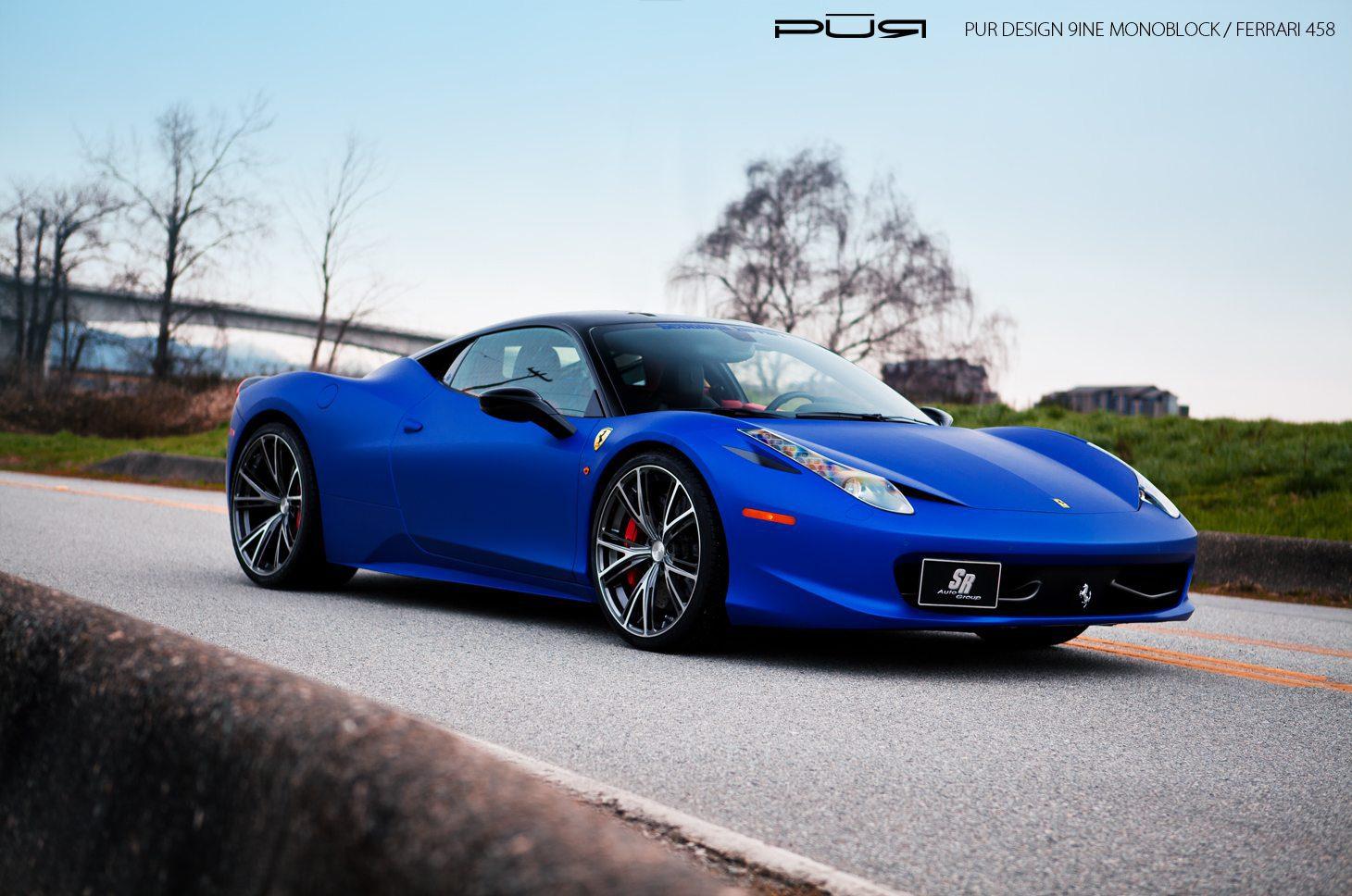 matte blue ferrari 458 italia with pur 9ine monoblock wheels - Ferrari 458 Blue Wallpaper