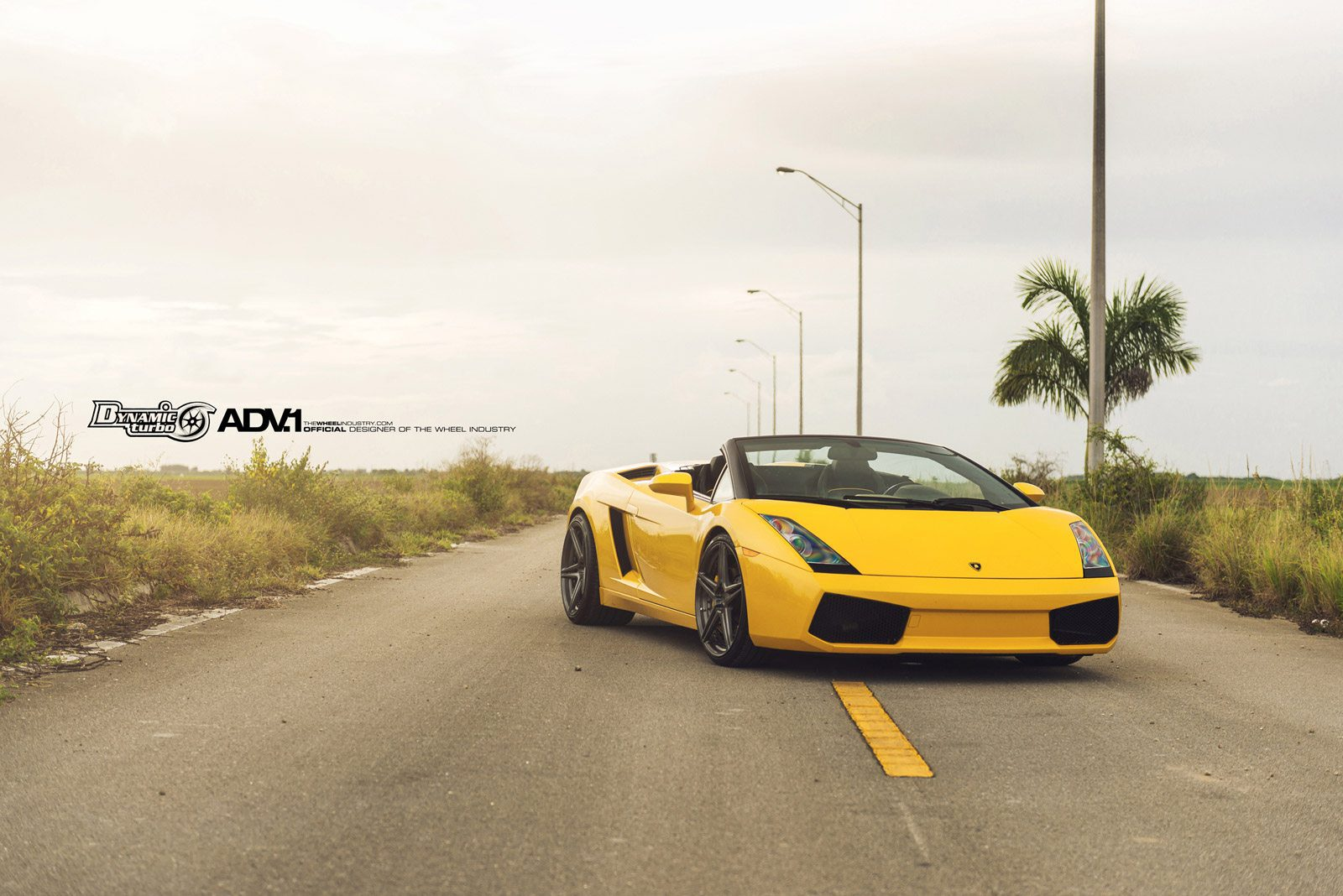 Yellow Lamborghini Gallardo Rocking Aftermarket Adv 1 Wheels